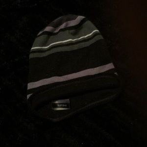 Kenzie gray, black, and white striped loose beanie